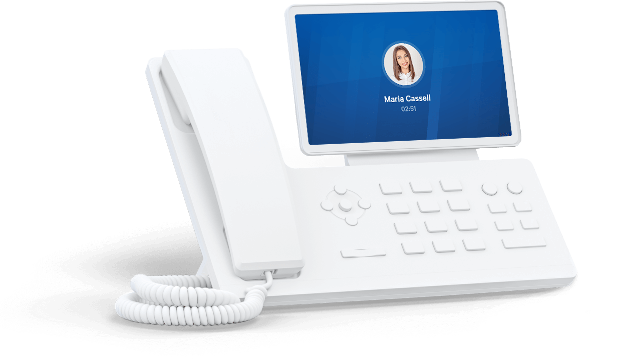 Picture of a Yealink T54W desk phone used with Telzio.