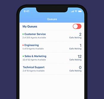 Queue overview in Telzio's mobile app.
