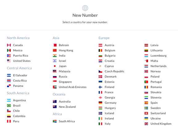 List of 56 country flags where you can get phone numbers.