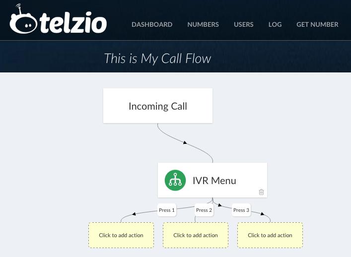 Screenshot of Telzio's Call Flow Editor, with IVR Menu