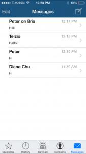 Screenshot of Telzio's Mobile App for iPhone