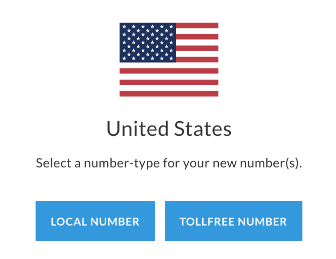 US flag with two options for selecting either a local US phone number or a toll free US phone number.