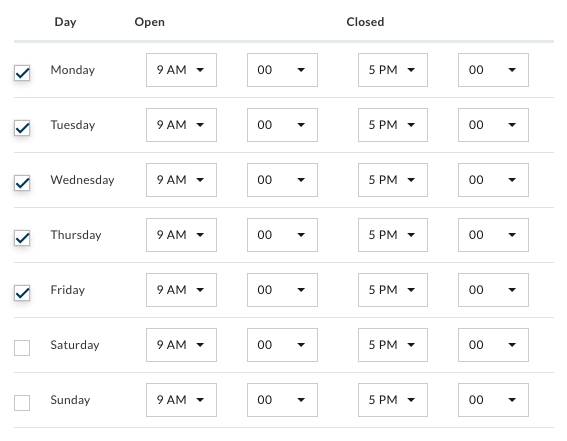 Select opening hours