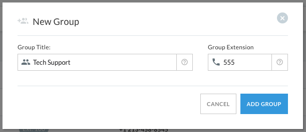 Settings for adding a new group, with a field to enter the group name and extension.