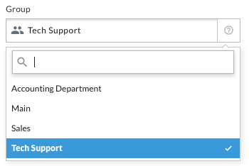 Settings for adding a new group, with a drop down list of all your users.