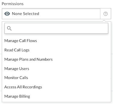 User permissions including manage call flows, read call logs, manage plans and numbers, manage users, monitor calls, access call recordings, and manage billing.