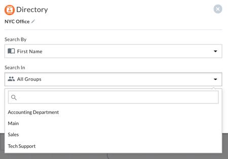 Company directory settings, with a drop down menu to select which user groups callers can search in.