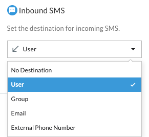 A dropdown menu titled Inbound SMS, with options to route incoming text messages to a User, Group, Email, External Phone Number, or No Destination.