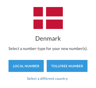 Danish flag, with two options for selecting either a local phone number or a toll free phone number.