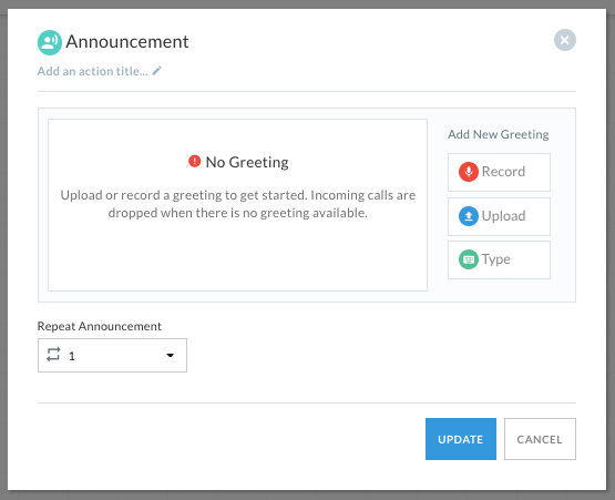 Announcement settings, with options to record, upload, or type in a custom greeting.