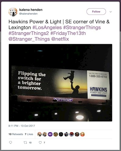 Stranger Things marketing campaign billboard