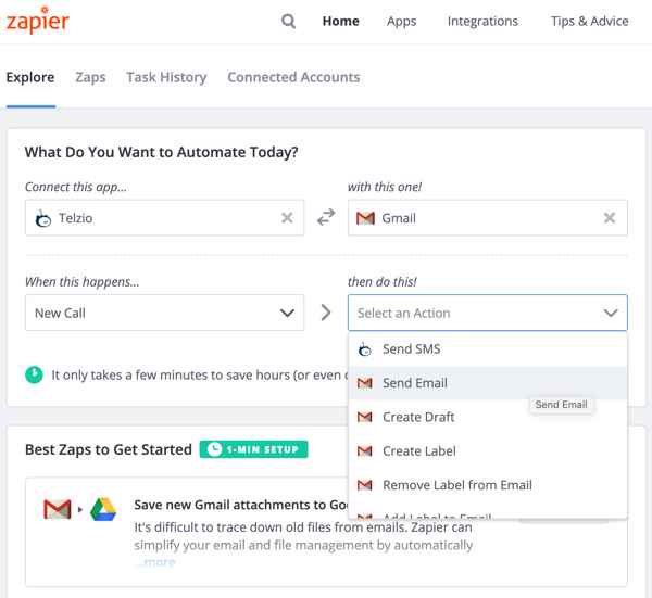 Zapier Walkthrough - Select Action