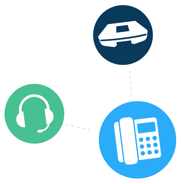 An illustration of a deskphone, conference phone and headset all being used together.
