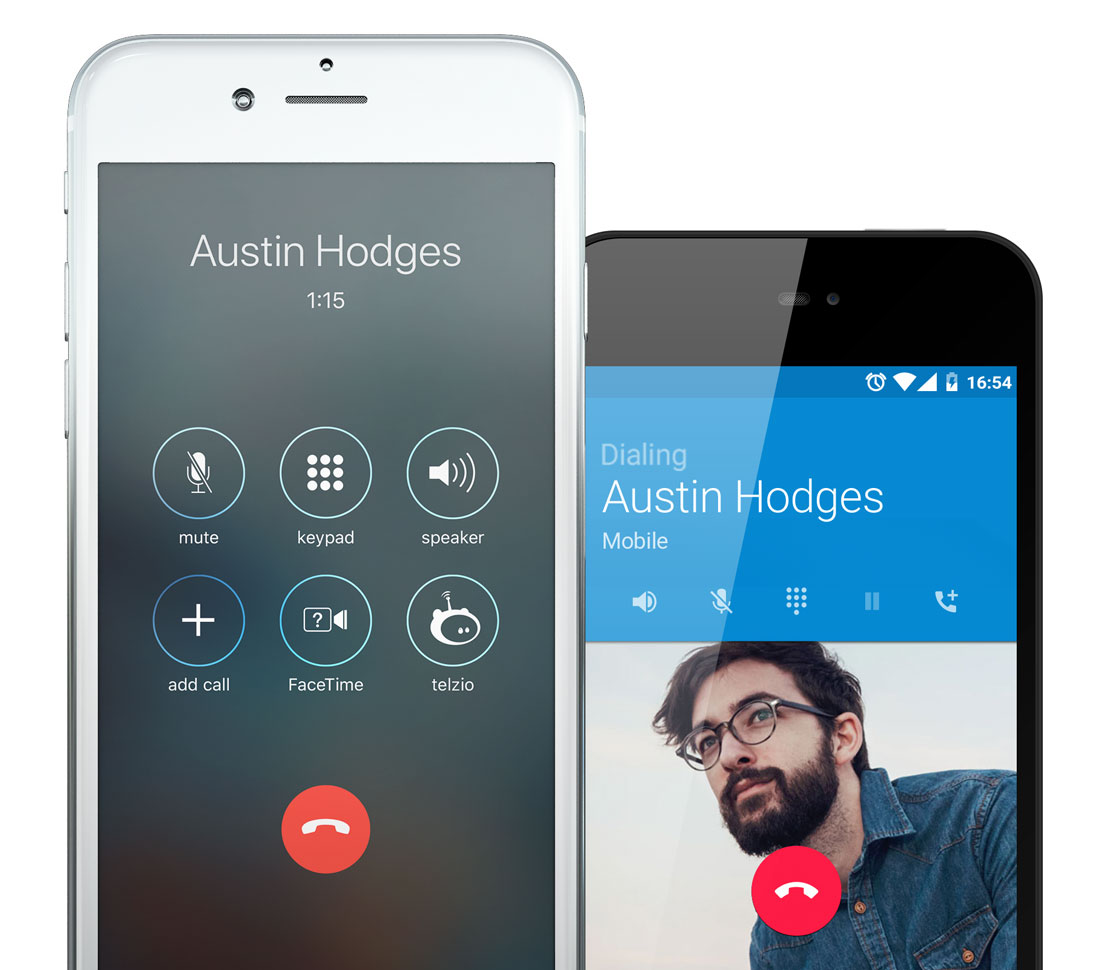 Example of iOS Callkit in use and Android native phone using the Telzio app.