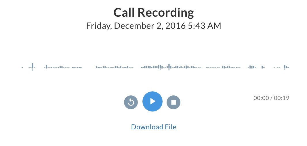 An example of the call recording player