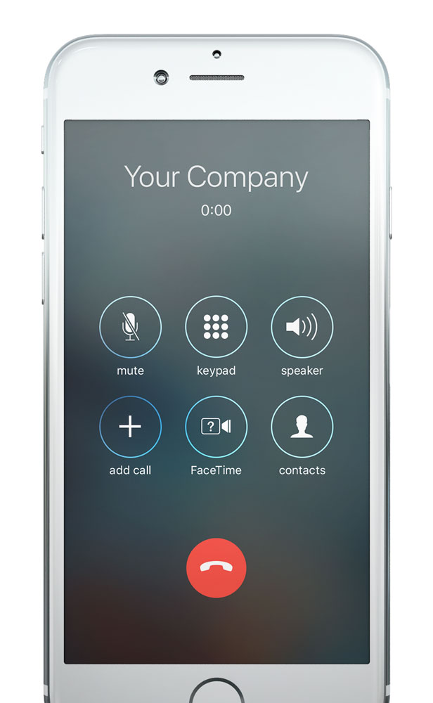 An example of your business' caller ID showing on an iPhone