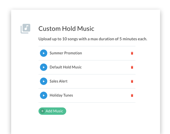A screenshot of the Telzio console's custom hold music tool.