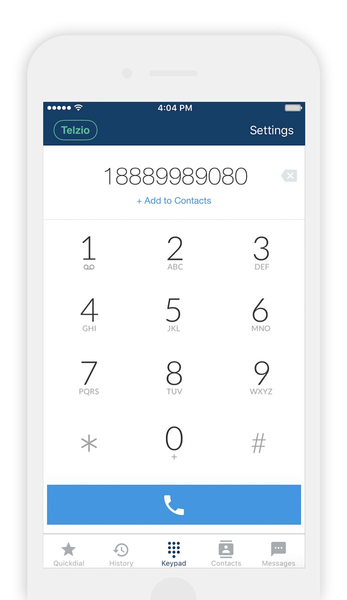 Example of the Telzio mobile app