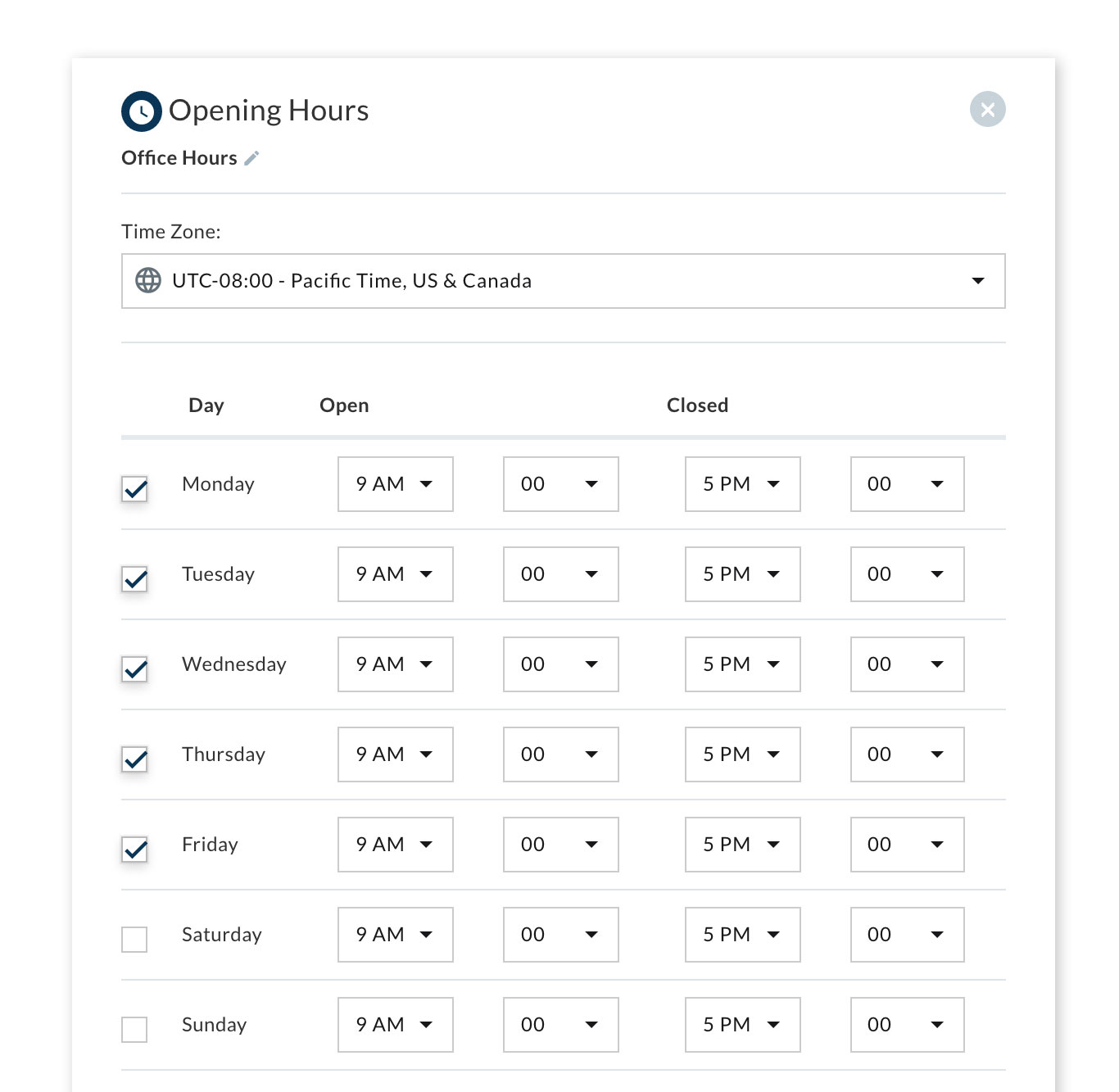 Example of setting up the business hours feature