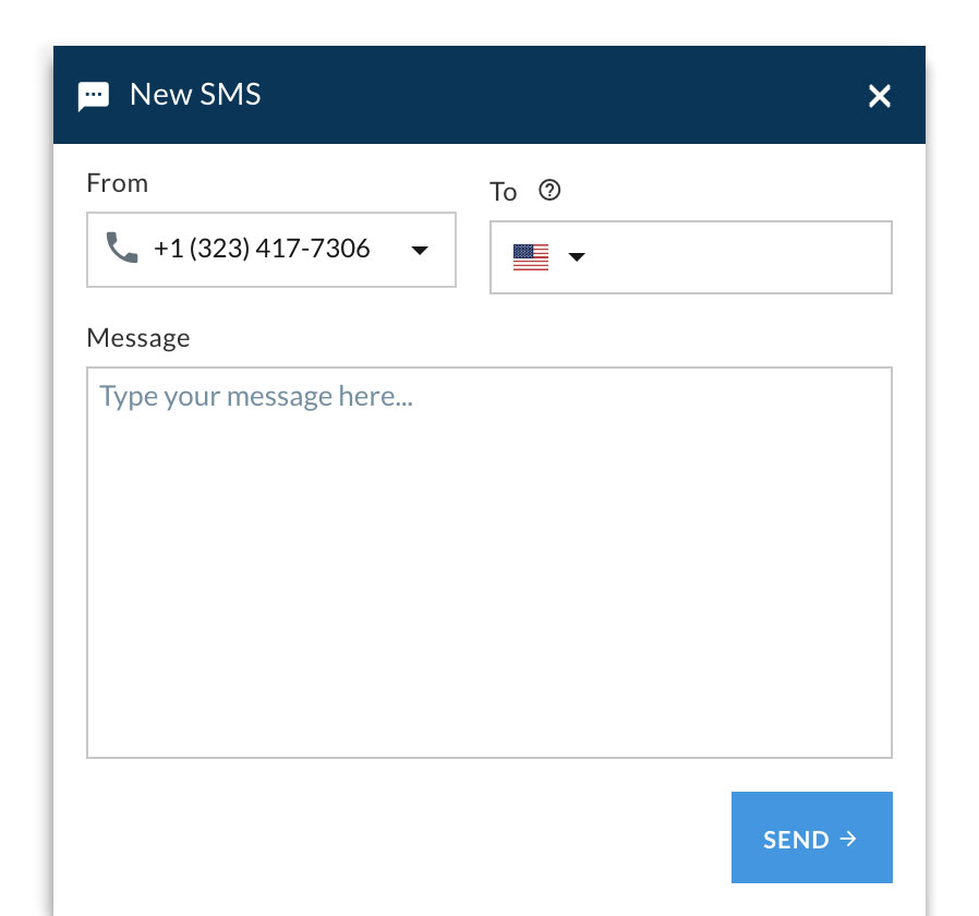 An example of how you can send an SMS right from the Telzio console