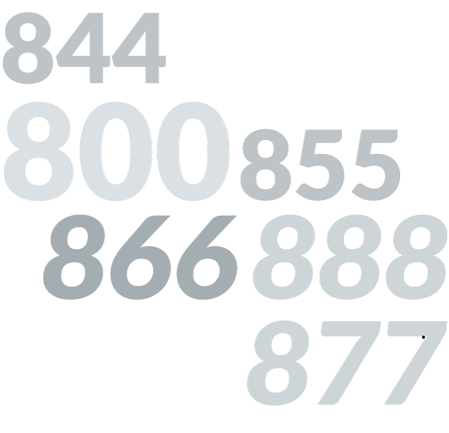 800, 888, 877, 866, 855 and 844 numbers displayed as graphics.